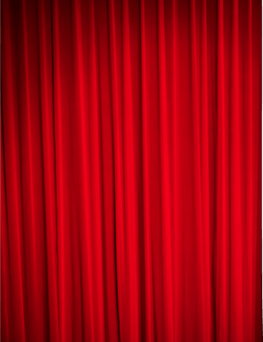 Red curtain on the left